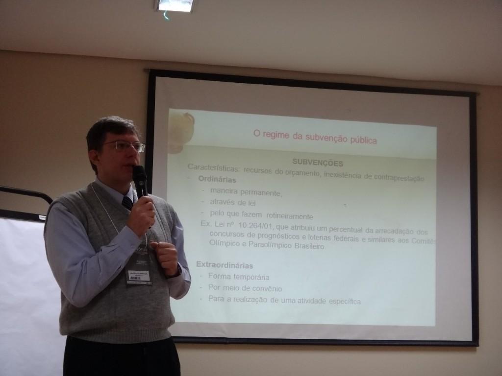 Palestra sobre Financiamento Público do Desporto, no 8º Congresso Nacional de Justiça Desportiva.